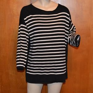 Chaps Classics Black White Striped Sweater Size 2X